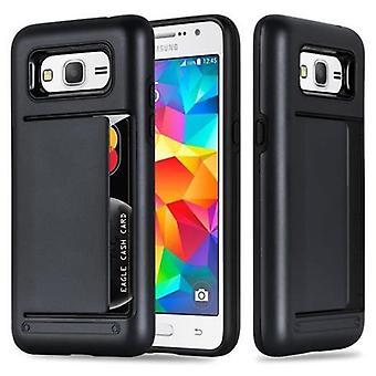 Funda Cadorabo para Funda de caja Samsung Galaxy GRAND PRIME - Funda de teléfono con estuche de tarjeta - Caja protectora de silicona TPU de estuche duro para cubierta híbrida en diseño de servicio pesado al aire libre