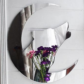 Howling Wolf Head and Crescent Moon Acrylic Mirror