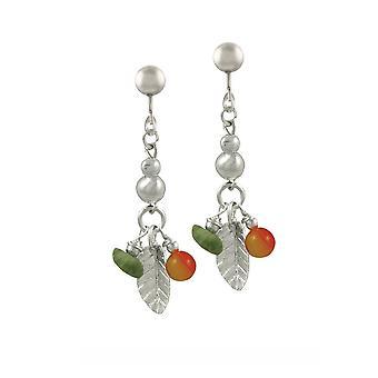 Eeuwige collectie Woodlands Jade en oranje Agaat zilveren Toon drop schroef terug clip op oorbellen