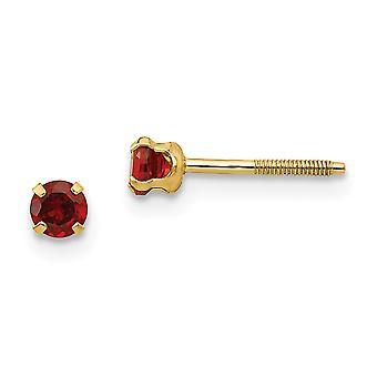 14k sárga arany polírozott csavar vissza Post fülbevaló 3mm gránát fiúknak vagy lányoknak fülbevaló intézkedések 4x4mm