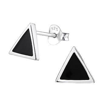 Triangle - 925 Sterling Silver Plain Ear Studs - W29358x