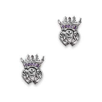 Scotland Royalty Mary Stuart Queen Of Scots Stud Pair Of Earrings - Amethyst Colour Stones