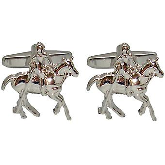 Bassin and Brown Silver Polo Player Cufflinks - Silver