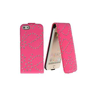 Bling-bling Strass Rose Vertical Overture For IPhone 5