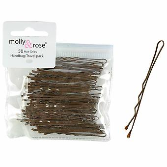 Molly & Rose Brown Hair Grips 45mm 50 Pack X 3