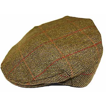 Mens Ladies Adult Teflon Coated Country Check Tweed 100% Wool Flat Cap