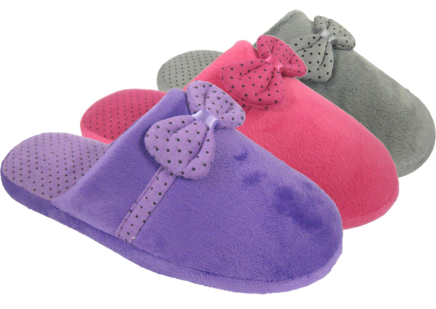 Coolers Womens Faux Fur Bow Tie Design Mule Slippers