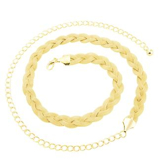 Women's Gold Chain Waist Belt with Clasp Buckle