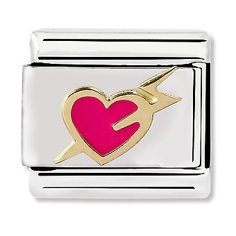 Nomination Classic Pink Heart With Bolt Steel Link Charm 030283/13