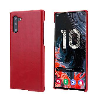 Pour Samsung Galaxy Note 10 Case Red Elegant Genuine Leather Back Cover