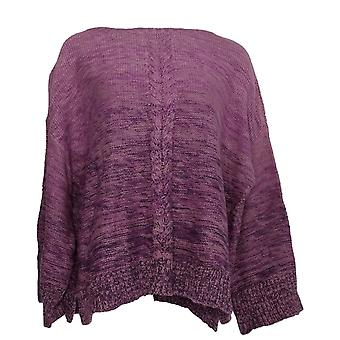 Style et Cie. Femmes plus Sweater Marl Braid Pull-Over Purple