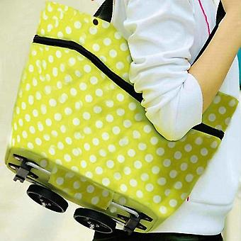 Smart Foldable Shopping Bag on Wheels Green White