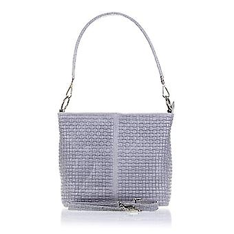 FIRENZE ARTEGIANI. Real leather woman bag. Women's bag Authentic leather finished engraved braided and lacquered. MADE IN ITALY. REAL ITALIAN SKIN. 32 x 26 x 18 cm. Color: Gray