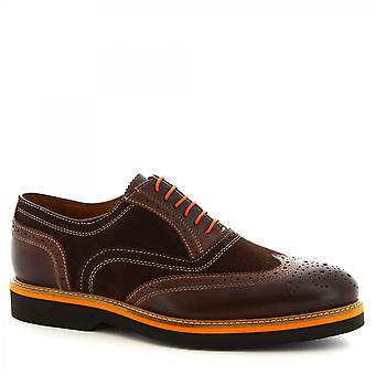 Leonardo Shoes Men's handmade lace-ups shoes dark brown suede calf leather