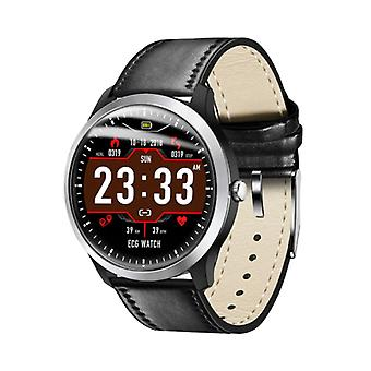 Lemfo Sports SmartWatch ECG PPG + Fitness Sport Activité Tracker Smartphone Watch iOS iPhone Android Samsung Huawei Black Leather
