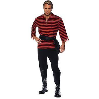 stripete pirat voksen kostyme svart/rød