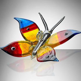 Sienna Glass Butterfly Blue, Red & Yellow
