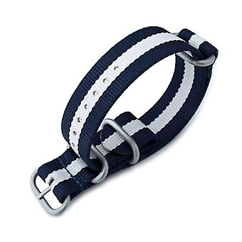 Strapcode n.a.t.o klokke stropp miltat 22mm eller 24mm 3 ringer g10 zulu watch strap ballistisk nylon armbånd, marineblå, hvit, sandblåst spenne