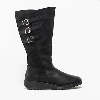 Cipriata Italania damer Triple Buckle hög ben boot svart