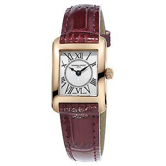 Frederique Constant Womens Carree bruin lederen riem Silver Dial FC-200MC14 Watch