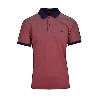Gant Oxford Pique Kurzarm Polo Shirt hellrot