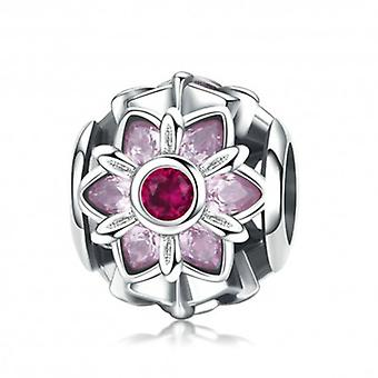 Sterling Silver Charm Pink Flower - 5712