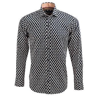 Guia Londres puro algodão Sateen Mens camisa com Design realçado Paisley