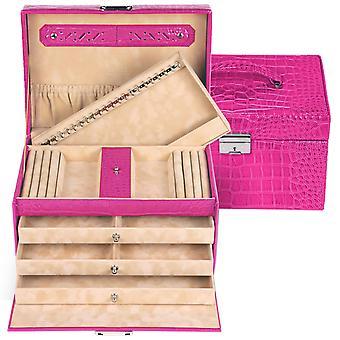 Sacher sieraden geval sieraden doos JULIA roze laden afsluitbaar geheim compartiment