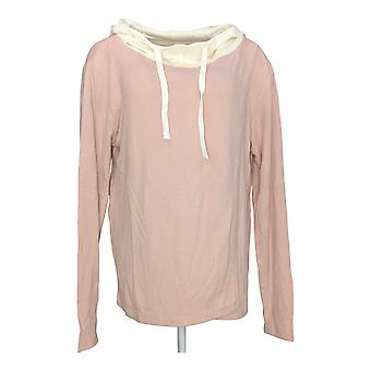 Peace Love World Women's Comfy Hoodie w/ Waffle Knit Pink A344488