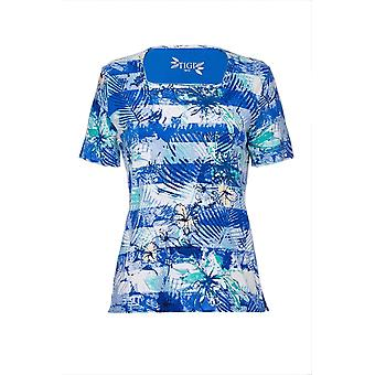 TIGI Royal Blue Blommig Stripe Print Top