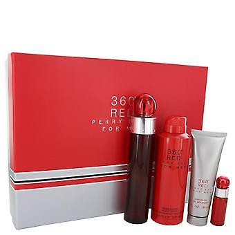 Perry Ellis 360 vermelho presente definido por Perry Ellis 3,4 oz Eau De Toilette Spray 25 oz Mini EDT Spray + Spray corporal de 6,8 oz + Gel de banho 3 oz