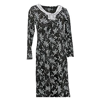 Carole Hochman Women's Dress Etched Floral Interlock Long Black A294057