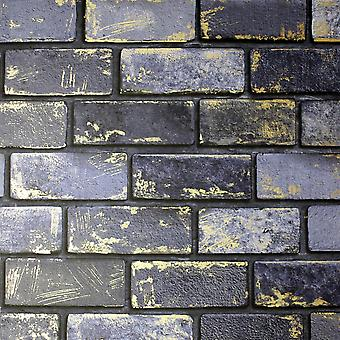 Tijolo metálico De papel de parede Navy / Gold Arthouse 692200