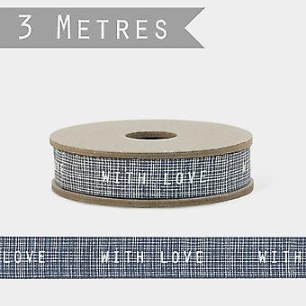 East of India Ribbon WITH LOVE 3m Craft Grosgrain Blue Ribbon