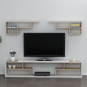 Mobile Porta TV Istanbul Colore Bianco, Rovere in Truciolare Melaminico, L180xP29,5xA36,8 cm, Ogni Pezzo L80xP14,5xA30 cm