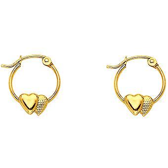 14k giallo oro 2 amore cuori orecchini cerchio 12x12mm regali di gioielli per le donne - .7 Grammi
