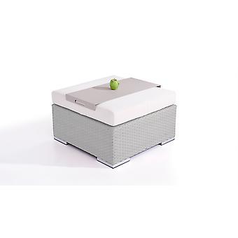 Polyrattan Cube kruk 75 cm - grijs satijn