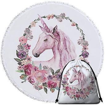 Bloemen cirkel Unicorn strandlaken