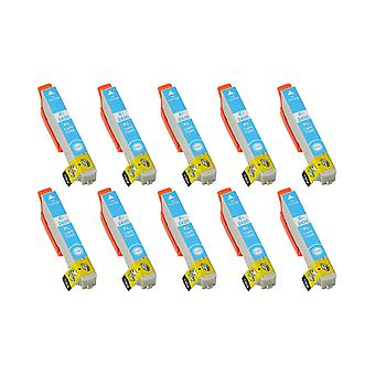 RudyTwos 10x Replacement for Epson Elephant Ink Unit LightCyan Compatible with Expression Photo XP-55, XP-750, XP-760, XP-850, XP-860, XP-950