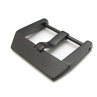 Strapcode watch buckle 24mm high quality 316l stainless steel screw type 4mm tongue buckle, pvd black finish