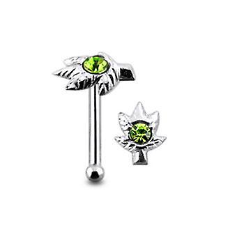 Jeweled Marijuana Leaf Ball End Nose Pin