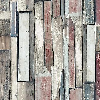 Industrial Distressed Wood Effect Wallpaper Red Teal White Modern