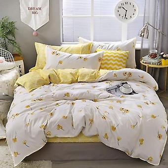 Luxus Floral Bettwäsche Set - Bettbezug Lucky Clovers und karierten Reversible