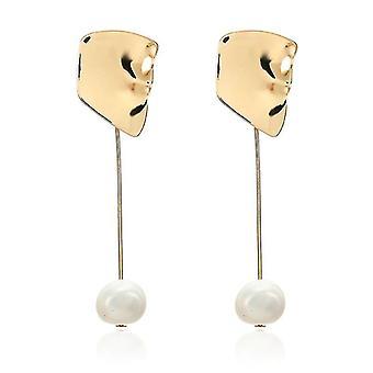 Geometric Pearl Drop Earrings