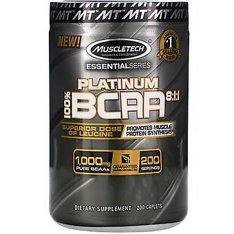 Muscletech, Platinum 100% BCAA 8:1:1, 1,000 mg, 200 Caplets