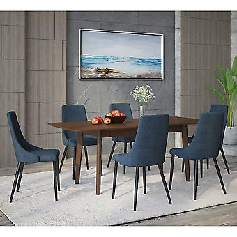 Adelaide/Nathan Rectangular 7Pc Dining Set - Walnut Table/Blue Chair