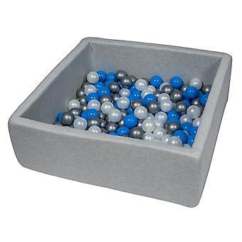 Kwadratowy pit kulkowy 90x90 cm ze 150 kulkami z pereł, niebieskiego i srebrnego