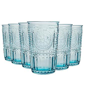 Bormioli Rocco Romantiska Highball Glasögon Set - Vintage italienska Cut Glass Cocktail Tumblers - 340ml - Blå - Förpackning om 6