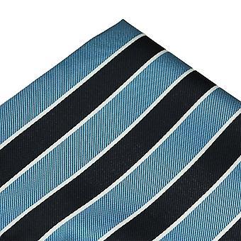 Solmiot Planet Navy Sininen, Vaaleansininen & Valkoinen Raidallinen Pocket Square Nenäliina