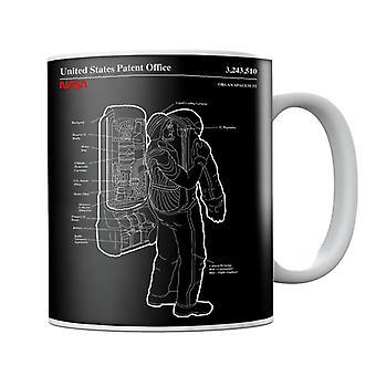 NASA Orlan Spacesuit Backpack Blueprint Mug